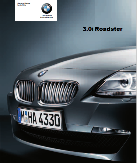 2008 Bmw 3.0i Roadster Owners Manual Free Download