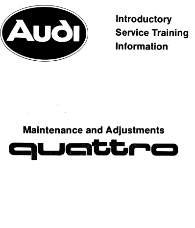 1985 Audi Turbo Quattro Coupe Introductory Service Repair Manual Free Download