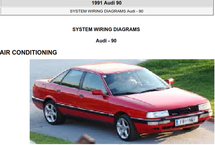 1991 Audi 90 System Wiring Diagram Free Download