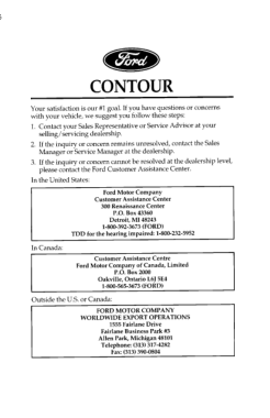 1996 Ford Contour Owner Manual