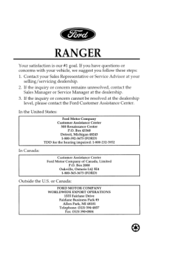 1997 Ford Ranger Owners Manual