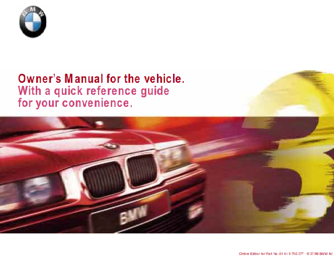 1998 Bmw 320i Coupe Owners Manual With Quick Reference Guide Free Download