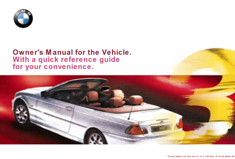 2000 Bmw 323ci Coupe Owners Manual With Quick Reference Guide Free Download