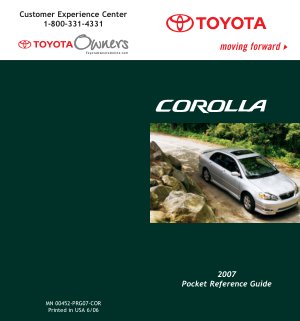 2007 Toyota Corolla Quick Reference Guide
