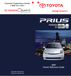2007 Toyota Prius Pocket Reference Guide