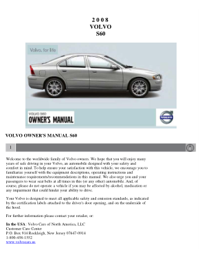 2008 Volvo S60 Owners Manual