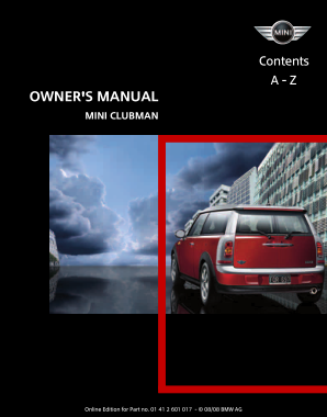 2009 Mini USA CLUBMAN Owners Manual