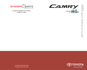 2009 Toyota Camry Hybrid Quick Reference Guide