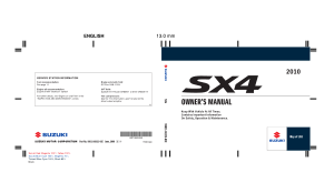 2010 Suzuki SX4 Owners Manual