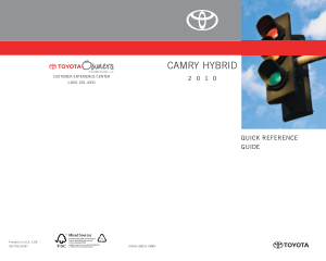 2010 Toyota Camry Hybrid Quick Reference Guide