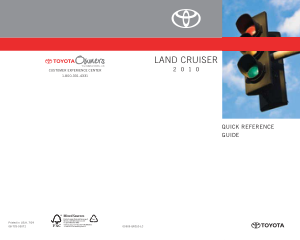 2010 Toyota Land Cruiser Quick Reference Guide