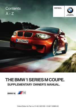 2011 BMW 1 Series M Coupe Owners Manual