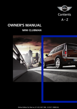 2011 Mini USA CLUBMAN Owners Manual Navi