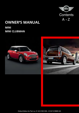2012 Mini USA CLUBMAN Owners Manual Navi