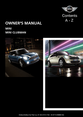 2012 Mini USA CLUBMAN Owners Manual