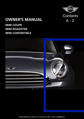 2012 Mini USA CONVERTIBLE Owners Manual