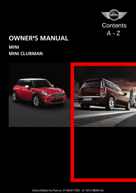 2013 Mini USA CLUBMAN Mini Hardtop All Trims Owners Manual