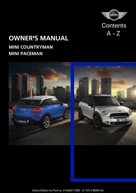 2013 Mini USA COUNTRYMAN Paceman All Trims Owners Manual
