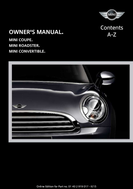 2013 Mini USA COUPE Roadster Convertible All Trims Owner Manual