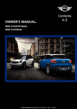 2014 Mini USA COUNTRYMAN Paceman Owners Manual
