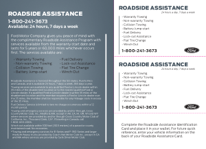 2014 Ford e-150 Roadside Assistance Guide Free Download