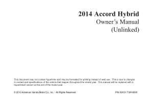 2014 Honda Accord Hybrid Unlinked Owners Manual Free Download