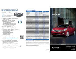 2014 Hyundai Azera Quick Reference Guide Free Download