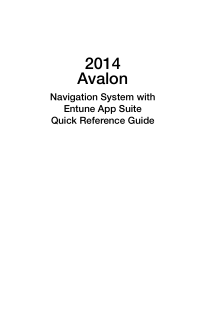 2014 Toyota Avalon Entune Premium Audio With Navigation And App Suite Quick Reference Guide Free Download