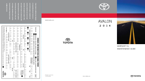 2014 Toyota Avalon Warranty And Maintenance Guide Free Download