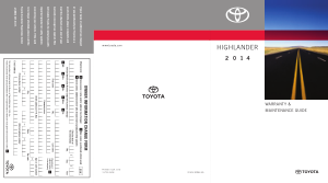 2014 Toyota Highlander Warranty And Maintenance Guide Free Download