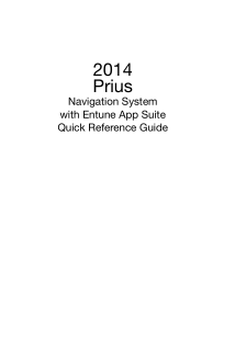2014 Toyota Prius Navigation System With Entune App Suite Quick Reference Guide Free Download