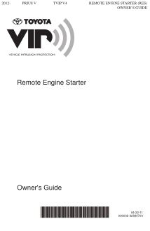 2014 Toyota Prius V Tvip v4 Remote Engine Starter Res Owners Guide Free Download