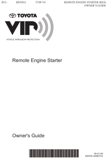 2014 Toyota Sienna Tvip v4 Remote Engine Starter Res Owners Guide Free Download