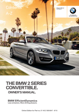 2015 BMW 2 Series Convertible Owners Manual