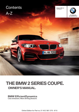 2015 BMW 2 Series Coupe Owners Manual