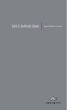 2015 Infiniti Q40 Quick Reference Guide