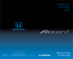 2015 Honda Accord Sedan Lx Sport And Ex Technology Reference Guide Free Download