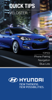 2015 Hyundai Veloster Phone Pairing Navigation Blue Link Quick Tips Manual Free Download