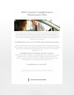 2015 Lincoln Mkz Complimentary Maintenance Guide Free Download