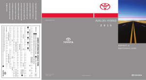 2015 Toyota Avalon Hybrid Warranty And Maintenance Guide Free Download