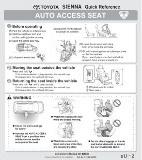 2015 Toyota Sienna Auto Access Seat Quick Reference Guide Free Download