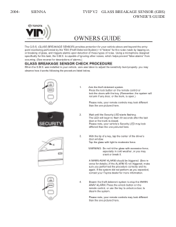 2015 Toyota Sienna Tvip v2 Glass Breakage Sensor Gbs Owners Guide Free Download