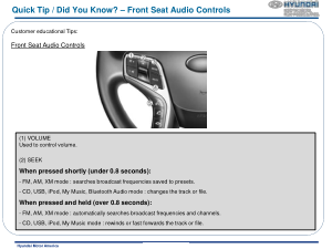 2016 Hyundai Azera Front Seat Audio Controls Quick Tips Manual Free Download
