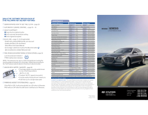 2016 Hyundai Genesis Quick Reference Guide Free Download