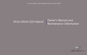 2016 Infiniti Usa q50 Hybrid Owner Manual And Maintenance Info Free Download