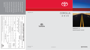 2016 Toyota Corolla Warranty And Maintenance Guide Free Download