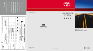 2016 Toyota Highlander Hybrid Warranty And Maintenance Guide Free Download