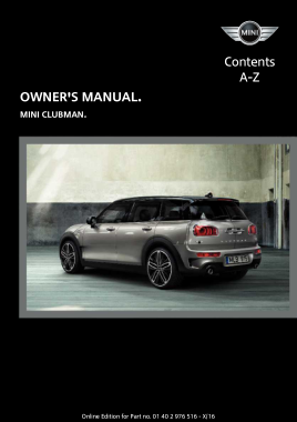 2017 Mini USA CLUBMAN Owners Manual Without Touchscreen