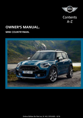 2017 Mini USA COUNTRYMAN Paceman Owners Manual Without Touchscreen