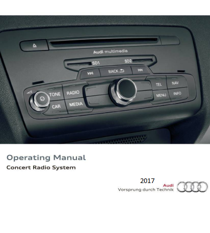 2017 Audi Concert Radio System Operating Manual Free Download